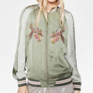 Zara Gray Dreamer Bird Embroidered Bomber Jacket